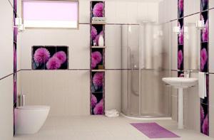 использование контрастов керамической плитки для ванной комнаты